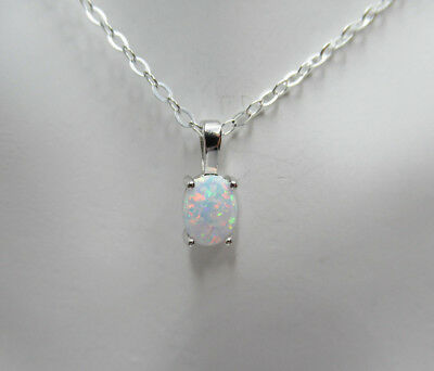 White Lab Opal Pendant - 925 Sterling Silver - Oval White Opal Necklace Jewelry Lab Opal Pendant