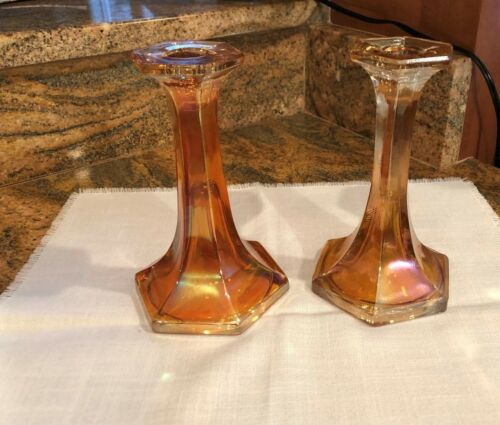 One Pair Marigold Carnival Candlesticks