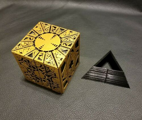 Hellraiser Inspired Puzzle Box Lament Configuration - Gold with Black Stand