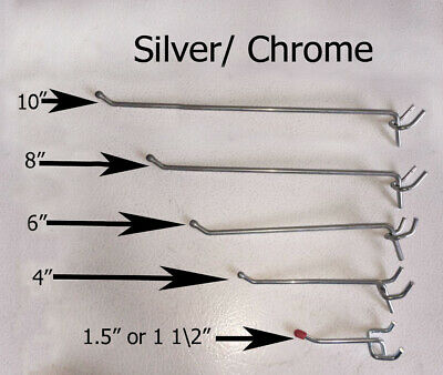 Set Of 20 Metal Pegboard Hooks Silver Chrome Color Heavy Duty In Any Size
