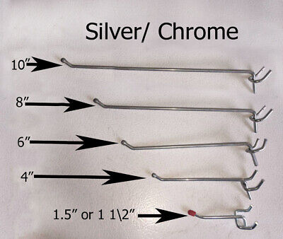 Set of 20 Metal Pegboard Hooks Silver / Chrome Color Heavy Duty in any size](Colored Pegboard)