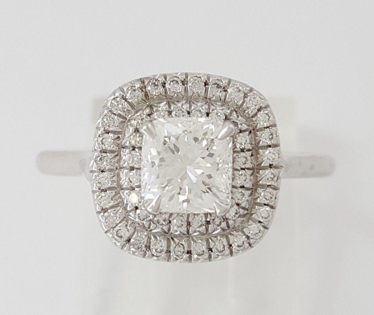 0.97 ct 18K White Gold Cushion Cut Diamond Double Halo Engagement Ring GIA E/VS1 4