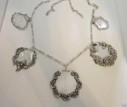 Antique Sterling Silver Luggage Tag Necklace - No Monograms - 93.1 grams!