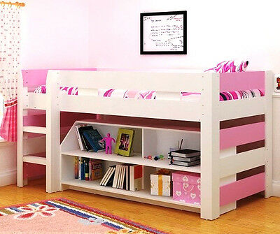 LOLLIPOP Girls 3ft Single Mid Sleeper Bed Frame with Storage in PINK and WHITE