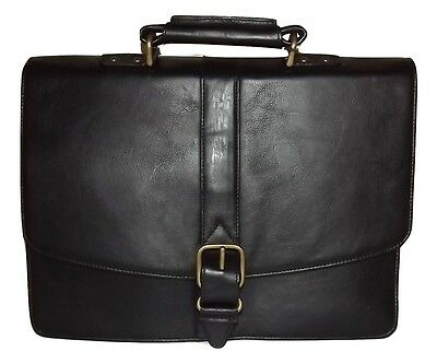 NEW SCULLY HIDESIGN LEATHER DOUBLE GUSSET LAPTOP BRIEFCASE WITH STRAP BLACK