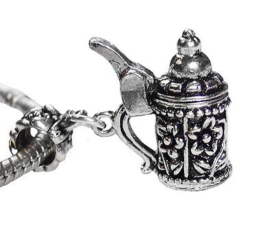 German Beer Stein Flower Drink Dangle Charm for Silver European Bead -
