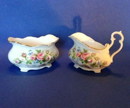 Royal Albert Footed Sugar And Creamer - Moss Rose - Pink - Montrose - England