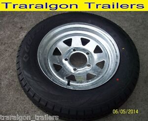 wheel-tyre-package-galvanised-155-R13C-5-stud-suit-HT-holden-boat-trailer-W1