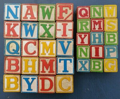 Vintage Wooden Toy Blocks ABCs NUMBERS Alphabet Animals Children's  Lot of 35