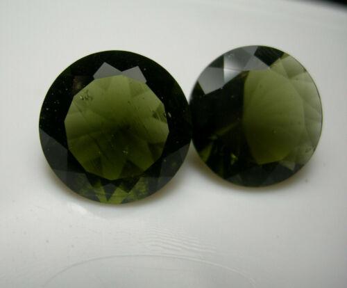 2 rare Moldavite Gems GREEN GENUINE Czech Tektite gemstone meteorite IMCA 9.19ct