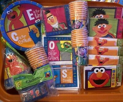 Sesame Street Elmo Ernie Count Cookie Birthday Party Plates Napkins Cups Hats