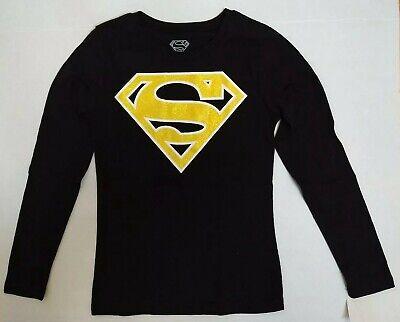Girls Superman Supergirl Costume Shirt Black Gold Glitter Logo Long Sleeve M - Superman Costume Girls