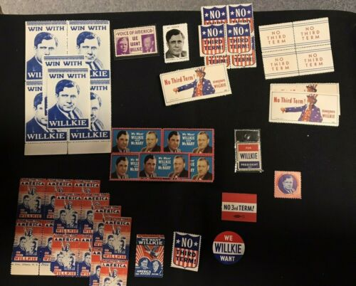 Wendell Willkie Presidential Political Campaign Poster Stamps Lot of 46pcs JH874