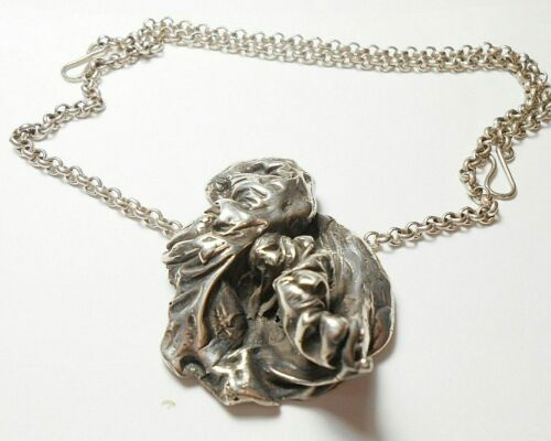VINTAGE BRUTALIST ABSTRACT LARGE HEAVY STERLING PENDANT NECKLACE  59 GRAMS