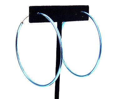 CLIP-ON EARRINGS BLUE EARRINGS SIMPLE THIN HOOP EARRINGS 2.25 INCH SPRING HOOPS