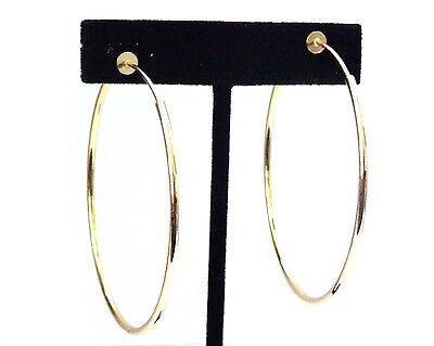CLIP-ON EARRINGS GOLD TONE HOOP EARRINGS SIMPLE THIN 2.25 INCH HOOPS