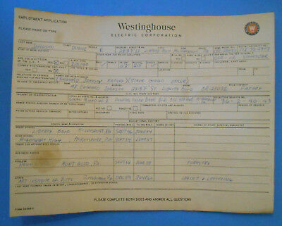 Original 1960s Westinghouse Electric Corp. Job Application-