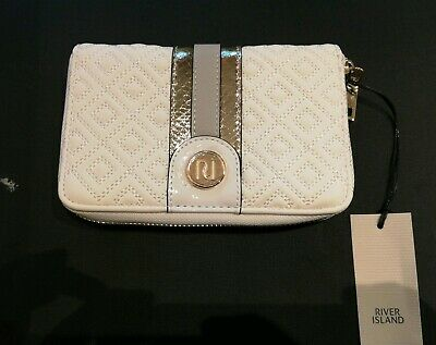 White Quilted RIVER ISLAND monogram Gold Zip Around Purse Wallet Clutch Bag BNWT