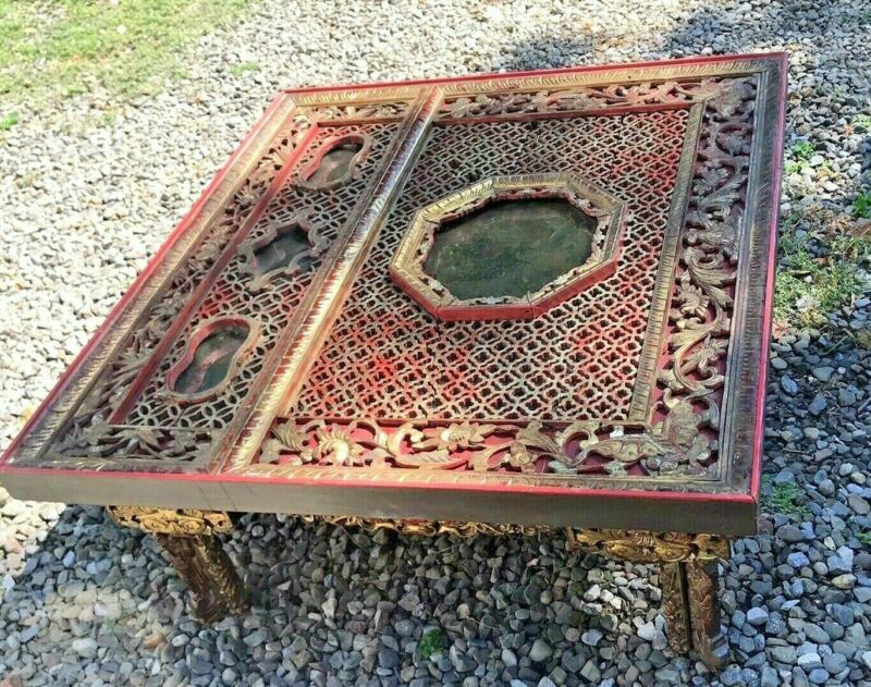 ORNATE ANTIQUE CHINESE CARVED ORIENTAL COFFEE TABLE
