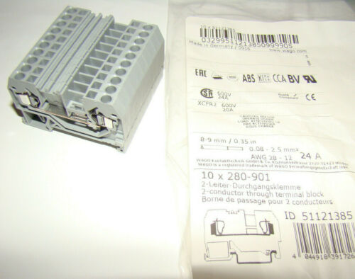 Lot of 10 WAGO 280-901 5mm 2-cond. Front Entry Through Terminal Block Grey