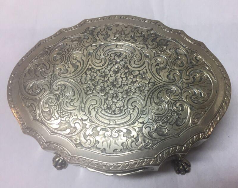 Vintage 800 Silver Floral Clawfoot Box