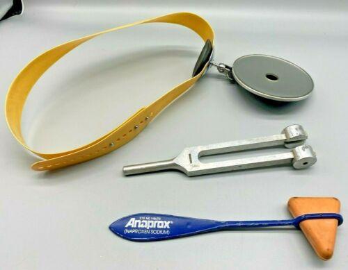 Vintage Medical Tools: Reflex Hammer, Head Mirror Reflector, Tuning Fork (2D2)