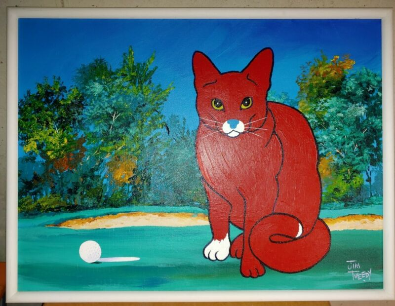 """Red Cat Painting by Jim Tweedy """"Missed it by a Whisker"""" 1992 #25 Size: 25"""" x 19"""""""