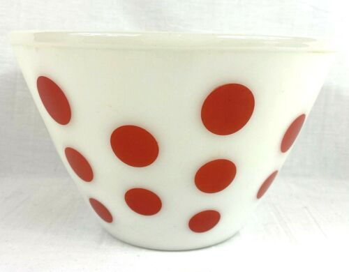 """Vintage Fire King Red Polka Dot XL 9.5"""" Mixing Bowl Oven Ware USA Excellent Cond"""