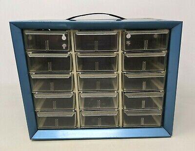 Vtg Akro-mils Blue Metal 15 Drawer Small Parts Organizer Storage Bin Cabinet