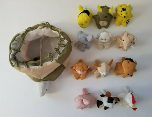 Vintage Unique Chinese Zodiac 12 Soft Fabric Animals in Turtle Drawstring Bag