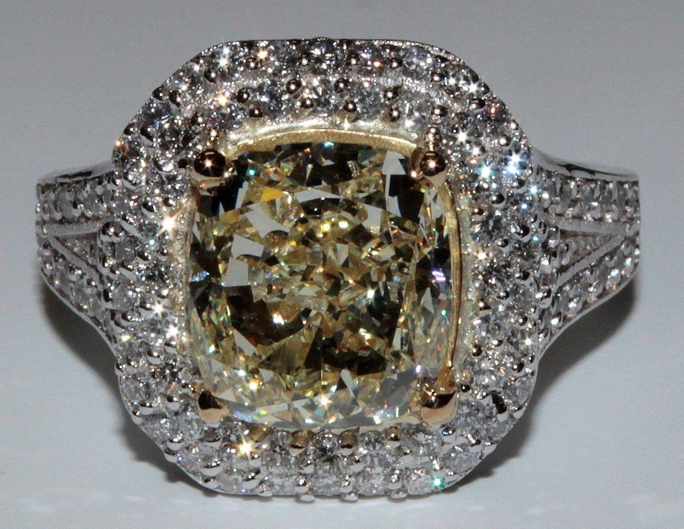 Fancy Yellow GIA Certified 2.25 Ct Cushion Cut Diamond Engagement Ring 18k Gold