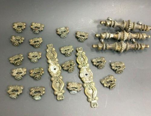 23 Vintage Ornate Brass Drawer Cabinet Knobs Pull & Square Backplates