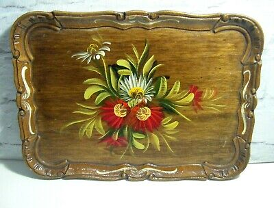 Vintage Floral Folk Art Hand Painted Small Wooden Tray ~ Bargeware / Canal Art