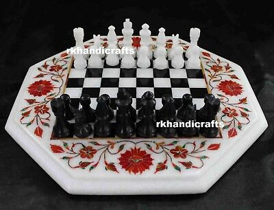 "15"" Octagon White Marble Chess Table Top Carnelian Stones Inlay Cottage Crafts"