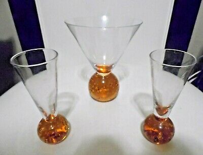 1 ea  Hand Blown Round Bubble Martini Glass & 2 Rd base shot glasses Orange   Martini Shot
