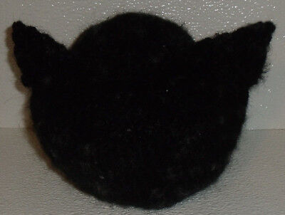 """Crochet Candy Dish Bowl Trinket Hand Made in USA Fuzzy Black Cat 5.5"""" By 6"""""""