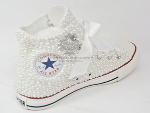 Womens-Wedding-pearl-bridal-flat-Customised-Low-High-Top-Converse-Sizes-3-8