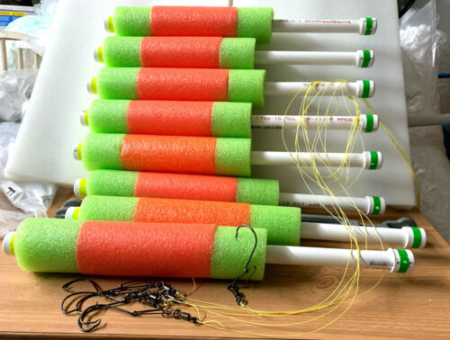 """Catfish Noodle Fishing Jugs---- Orange / Lime green---- lot of 8 """"Weighted"""""""