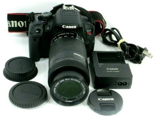 Canon EOS Rebel T5i 18.0MP DSLR Camera Black & a Canon 55-250mm Zoom Lens.