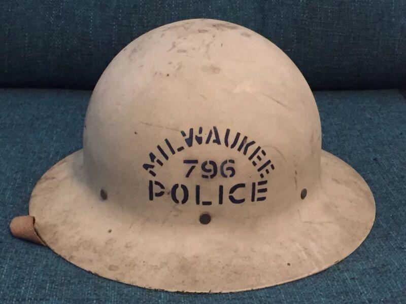 Milwaukee Police Riot Helmet Vintage WWII Era Office of Civilian Civil Defense