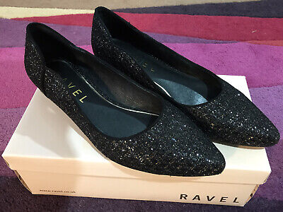 Ladies RAVEL CARSON BLACK GLITTER SHOES SIZE 6(39) LOW HEEL worn Once