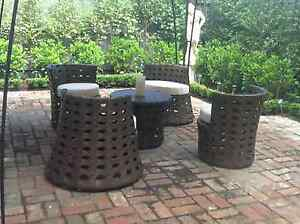Stackable outdoor furniture set Milan midnight wicker red cushio Paddington Eastern Suburbs Preview