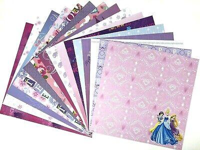 12X12 Scrapbook Paper Lot 16 Sheets Disney Princess Pink Purple Prints  L190 Disney Princess 12x12 Paper
