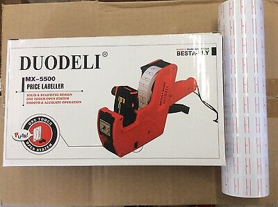 (MX-5500 8 DIGITS PRICE TAG GUN + 5000 WHITE W/ RED LINES LABELS + 1 INK NEW)