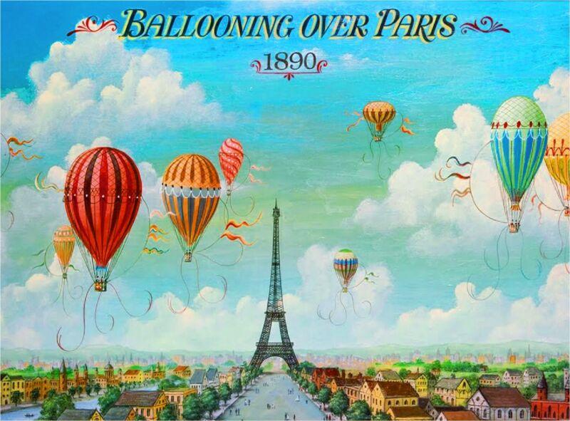 1890 Ballooning over Paris France Vintage European Travel Poster Advertisement