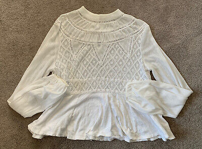 FREE PEOPLE White Long Sleeve High Neck Crochet Peplum Top Size Small