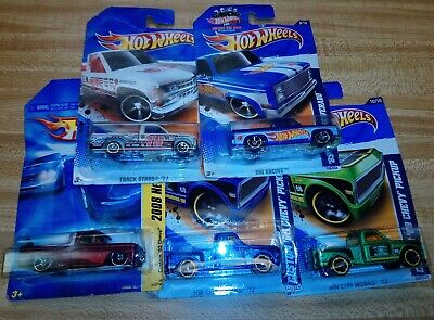 MIXED LOT OF 5 HOT WHEELS CHEVY TRUCKS PICKUPS MATTEL NR 2008 - 2012 SERIES