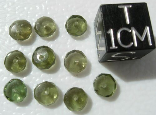 You get 10 MOLDAVITE 4.5x2mm beads w/ Certificate of Authenticity- all ten beads