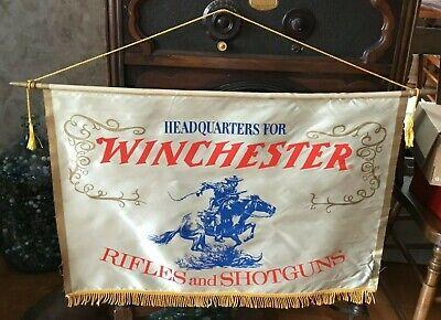 Vintage Original Winchester Rifles & Shotguns Dealers Silk Banner