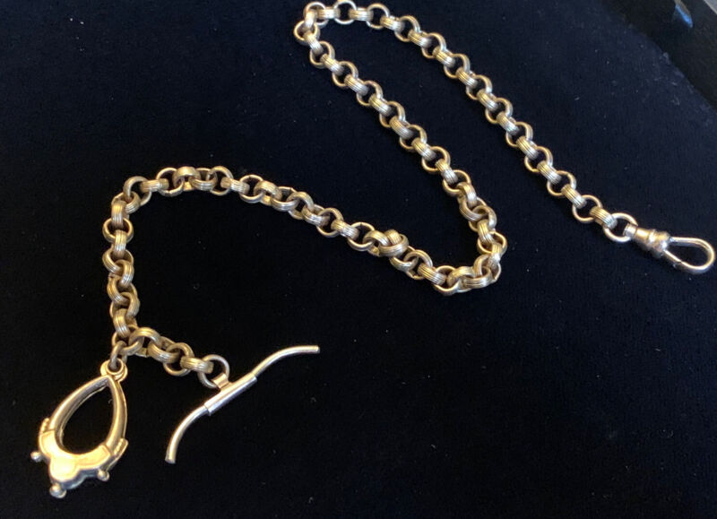 Pocket Watch HEAVY THICK Chain Vintage Gold Filled 23 Grams Victorian Antique